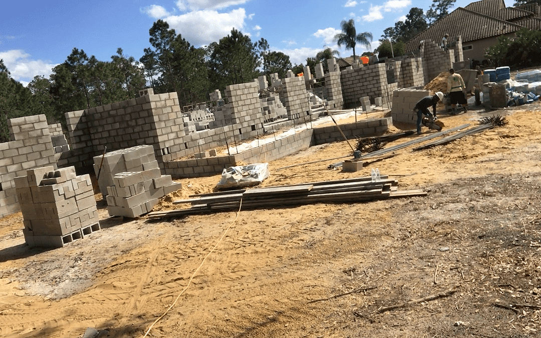 Block Walls Going Up at a New Custom Home